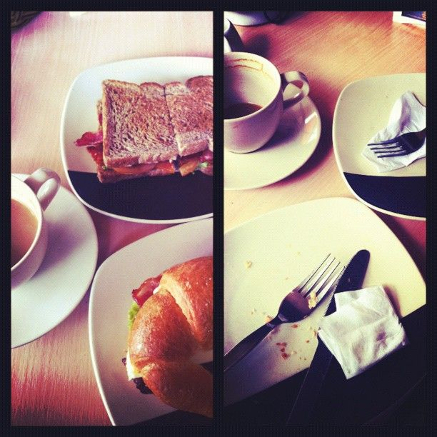 #beforeafter devouring #breakfast #marchphotoaday #day20 #blt #coffee #croissant