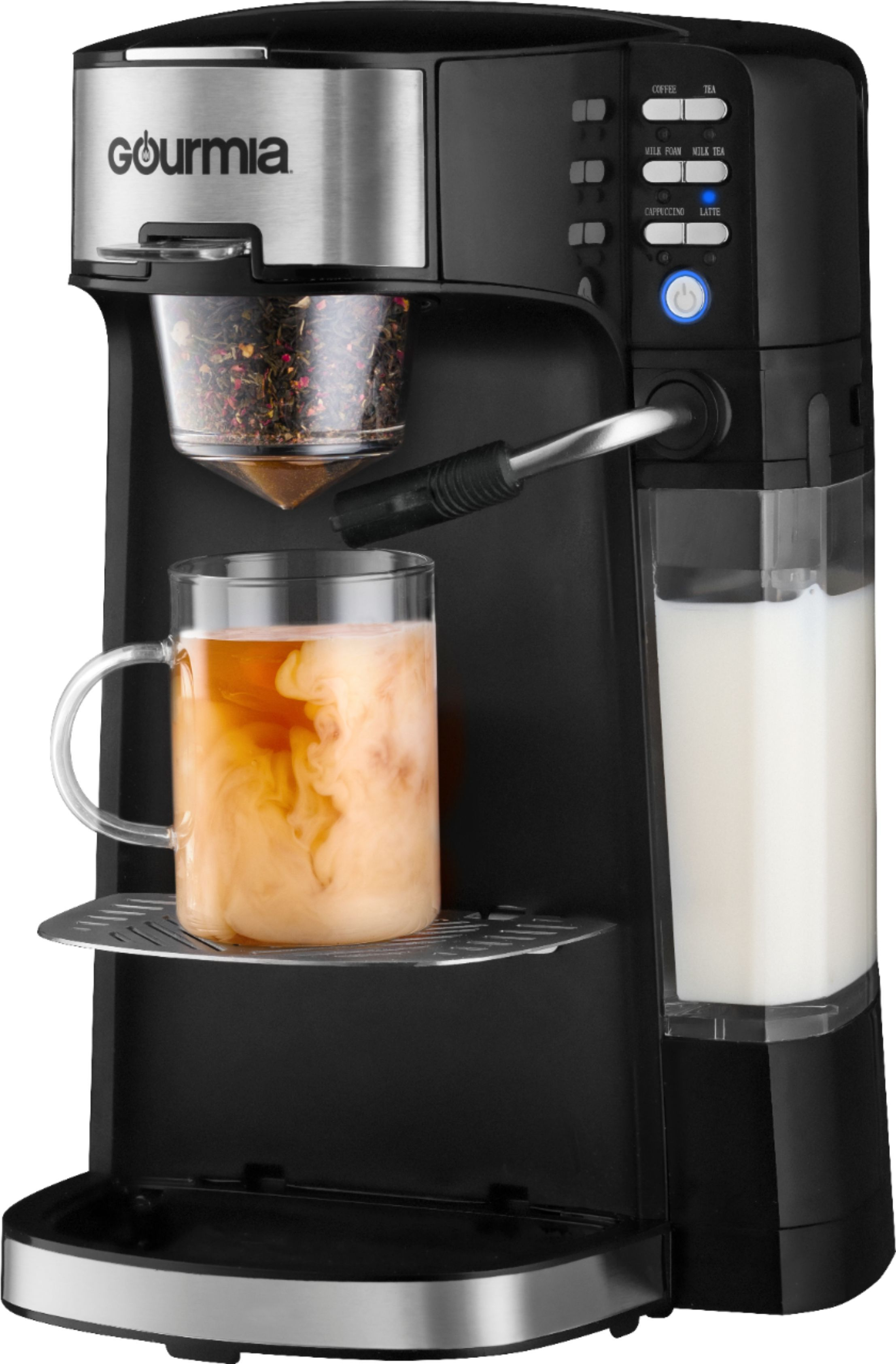 Gourmia Single Serve K Cup Pod Coffee Maker With Built In Frother