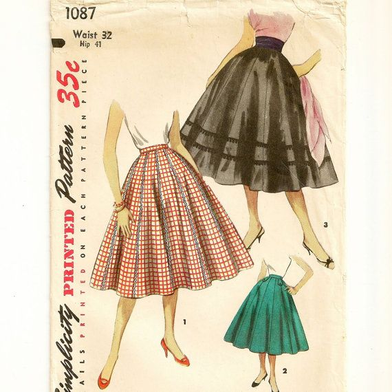 A Retro Flared 10-Gore Skirt Pattern, Vintage 1950s