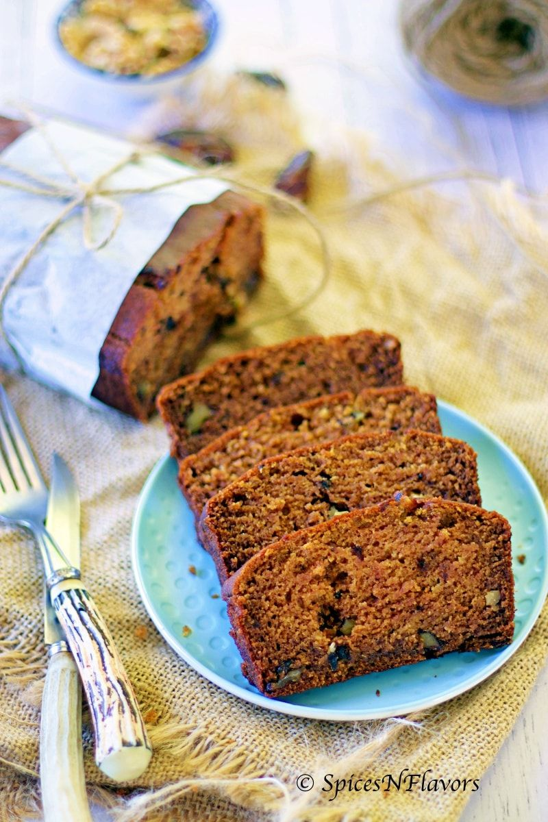 What if I say this is the easiest sugar free cake you will ever bake!! Yes  this eggless healthy Dates and W…   Date and walnut loaf, Date and walnut  cake, Loaf