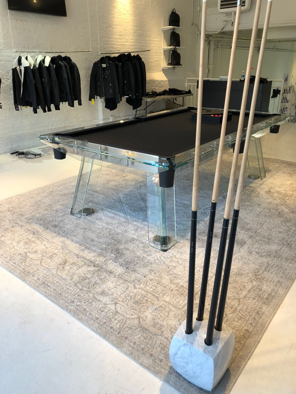 Filotto crystal billiards and Tocco marble cue rack by IMPATIA perfectly match the mood of this Fancy shop!   #fancy #billiards #interiors #inspiration #crystal #marble #luxury #furniture #gameRoom #basement #design #madeinItaly