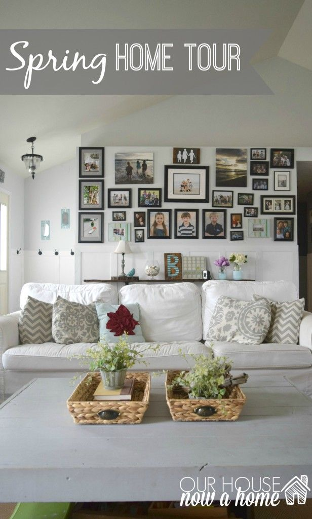 Spring home tour title, Spring home tour with simple ideas, crafts, DIY projects. All with bold colors and a coastal/rustic look to the home.