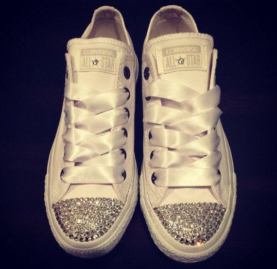 458f42570b25 SWAROVSKI CONVERSE White Low Tops for Women Chuck Taylors Converse Wedding  Shoes