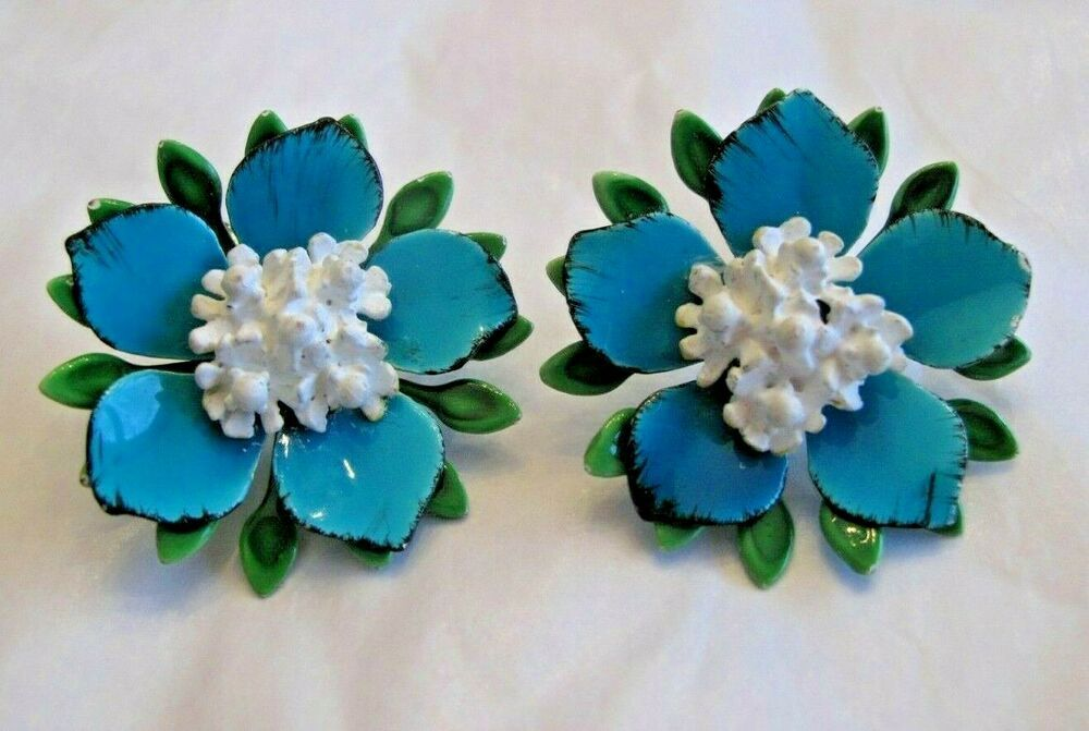 Vintage Metal Layered Flower Power Green Turquoise & White clip on Earrings #Unbranded #FLOWERPOWER