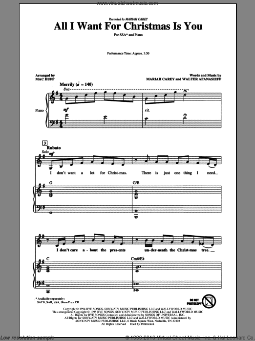 Carey All I Want For Christmas Is You Arr Mac Huff Sheet Music For Choir Ssa Soprano Alto Sheet Music Music Sopranos