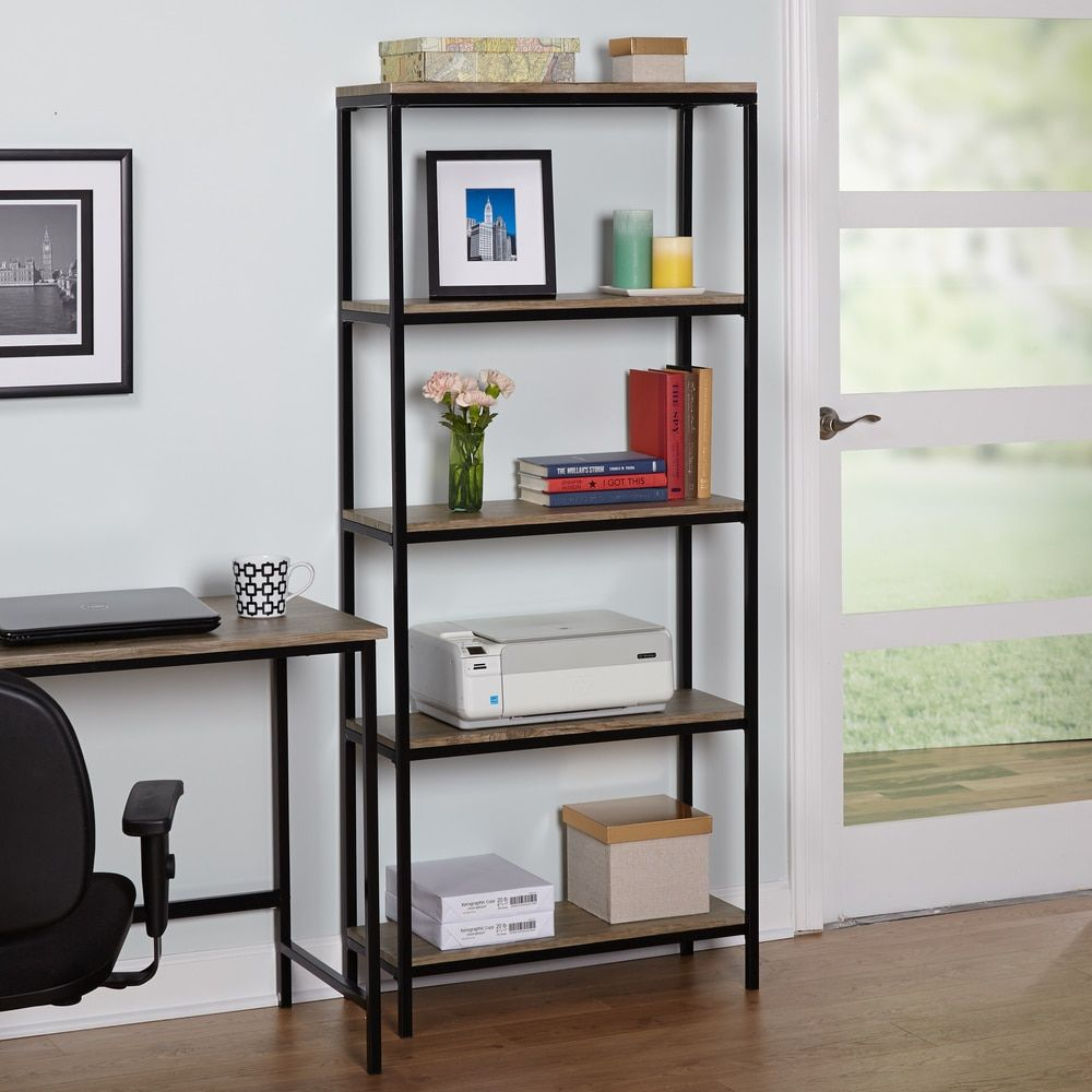 Simple living piazza tier wood and metal bookshelf apartment
