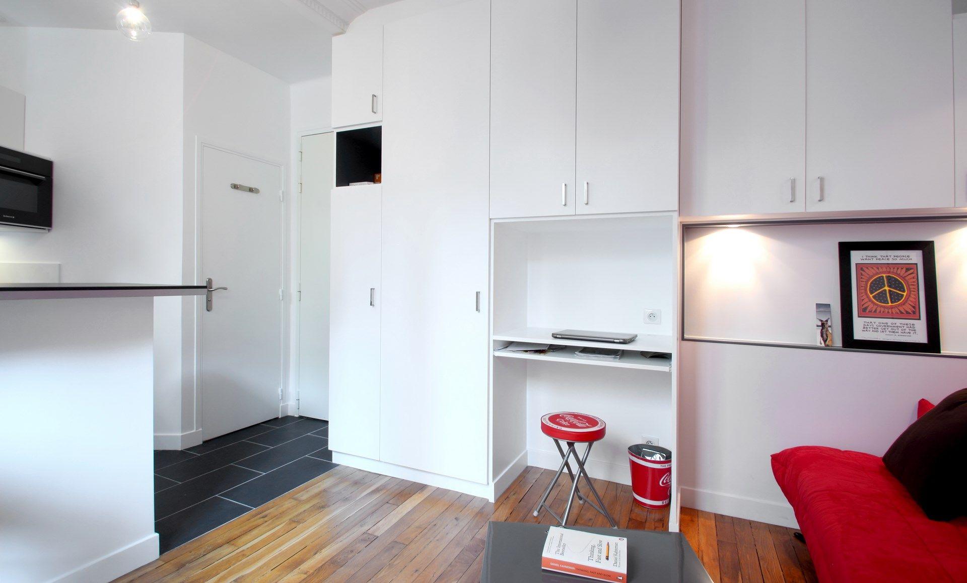 amenagement studio dressing bureau integre architecte. Black Bedroom Furniture Sets. Home Design Ideas