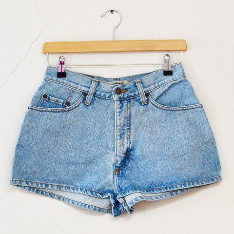 Vintage 1980s Blue Faded Denim Summer Hotpants Shorts Festival Medium £21 available at www.vagabondsvintage.com #vintage #retro #thrift
