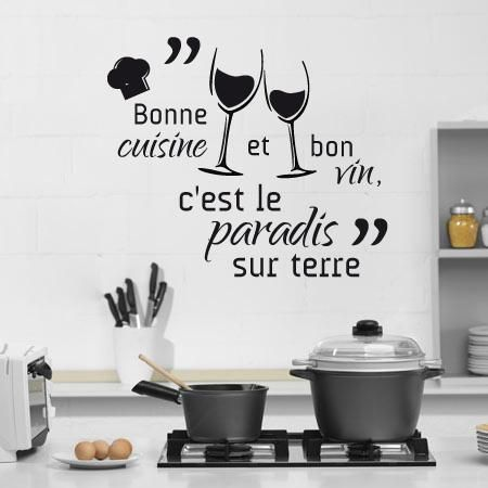 stickers bonne cuisine et bon vin citations citation cuisine stickers l 39 accord. Black Bedroom Furniture Sets. Home Design Ideas
