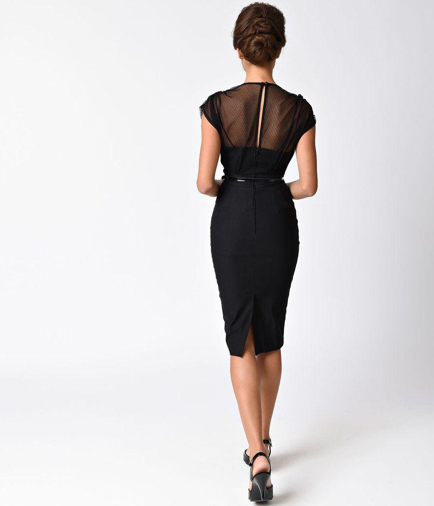 Stop Staring 1940s Style Black Swiss Dot Mesh Twilight Wiggle Dress Vintage Wiggle Dress 1940s Inspired Dress 1940s Fashion [ 1023 x 879 Pixel ]