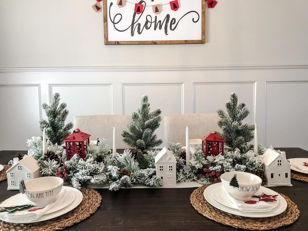 "Liz   Modern Farmhouse Decor on Instagram: ""Happy Monday! #showusyourholidaytable #monday #view #christmasjoy #christmasforest #tablescape #raedunn #target #targetdollarspot…"""