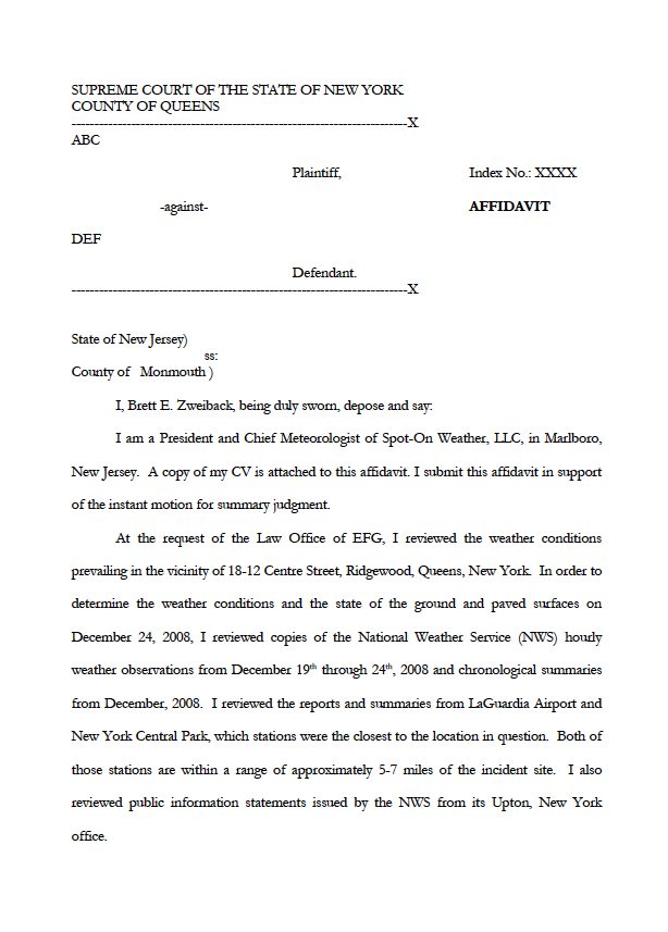 SpotOn Weather Samples affidavit samples – Affidavit Samples