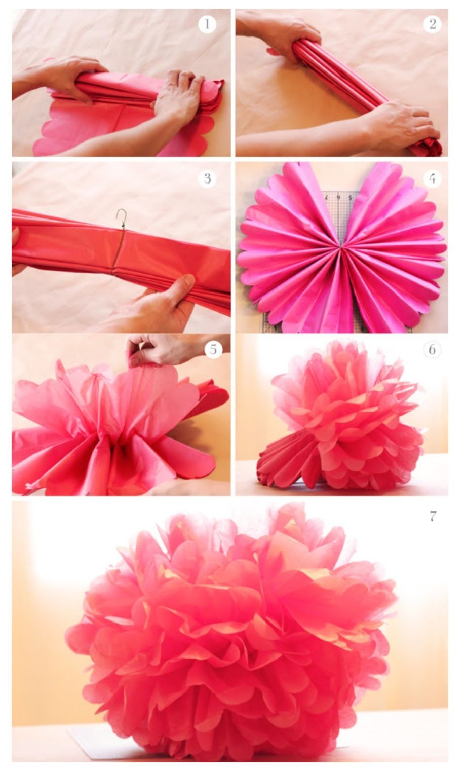 Tissue Pom Poms In Fun Colors To Hang From The Ceiling In
