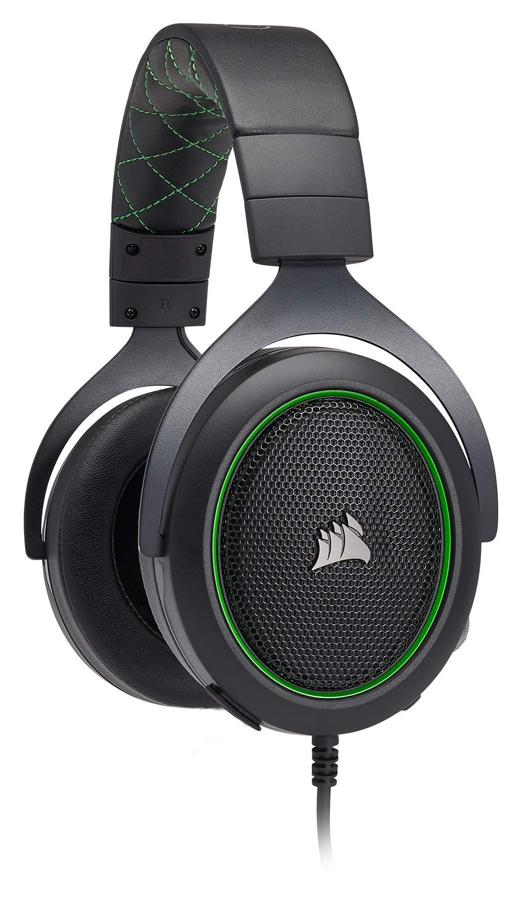 Corsair Hs50 Stereo Gaming Headset Discord Certified Headphones Designed To Work With Xbox One Green Gamin Gaming Headset Headphones Design Headphones