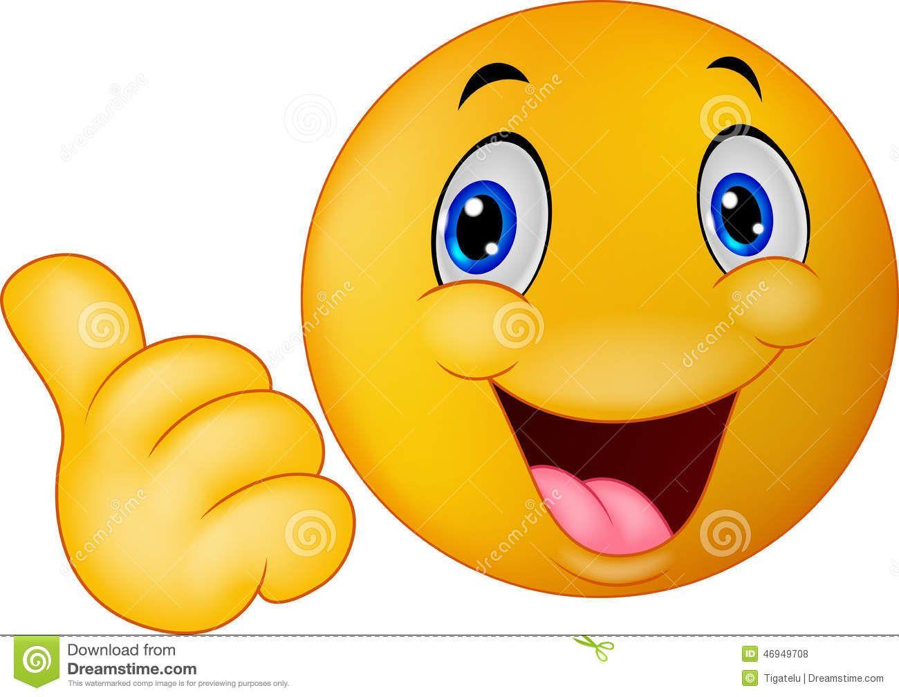 Emoticon sorridente felice che dà i pollici su ...