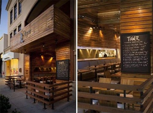 Wood exterior design the tiger restaurant by icrave for Cafe exterior design