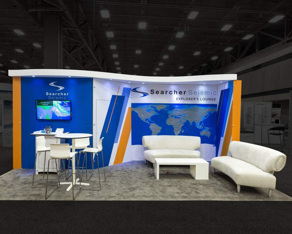 Trade Show Booth Lounge : A simple booth with comfortable seating that invites you