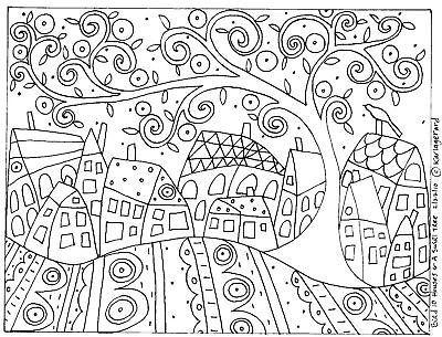 RUG HOOK CRAFT PAPER PATTERN Bird Ten Houses and a Swirl Tree FOLK ...