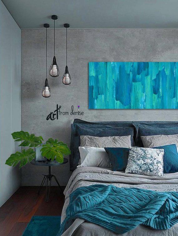 Large abstract canvas wall art, Modern teal navy blue ...