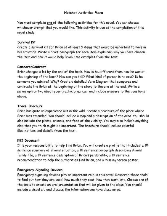hatchet worksheets Hatchet Activities Menu School Pinterest - resume incomplete degree