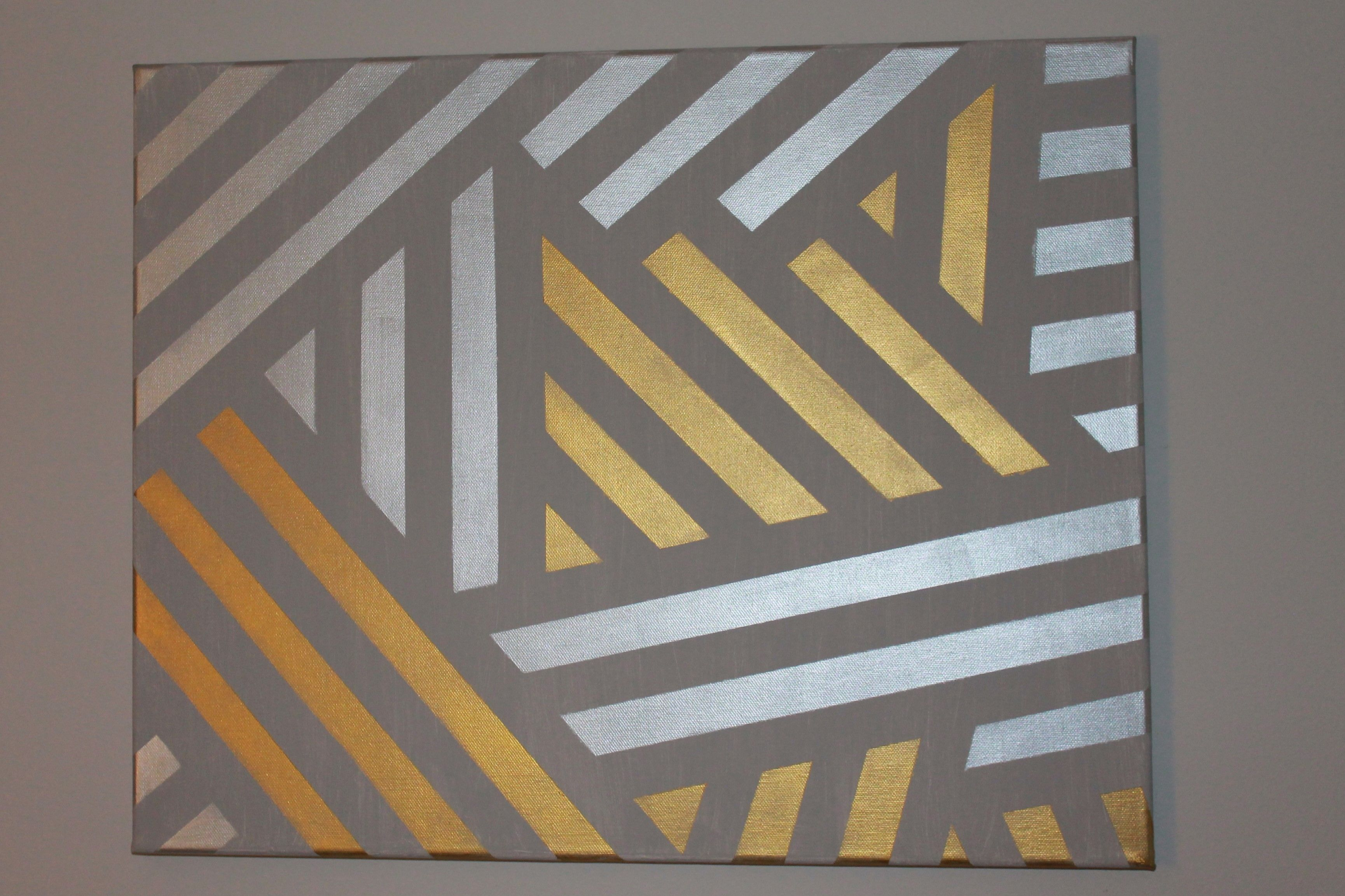 Geometric Painting Canvas Painters Tape To Make Lines Diy Canvas Art Painters Tape Art Wall Art Designs