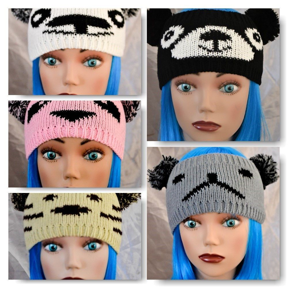 POM POM EARS PANDA CHARACTER KNIT WINTER HEADBAND *US SELLER*