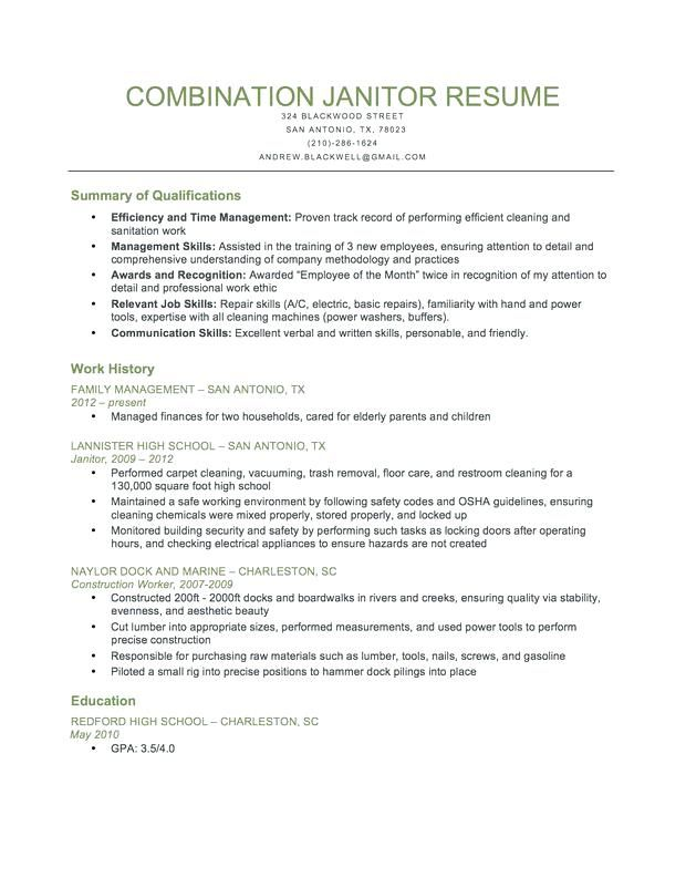 Sample Janitor Resume Combination Download This To Use As A Template