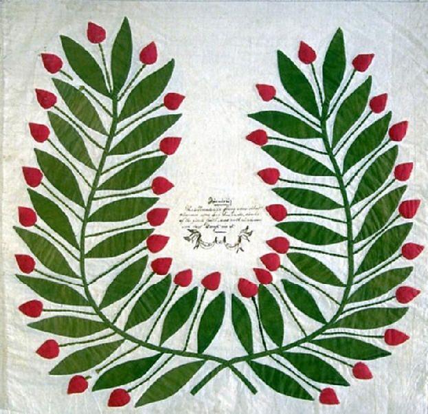 Baltimore Album Quilt detail, 1847. Made for Rev. Nadal. Baltimore, Maryland. Smithsonian Institution.