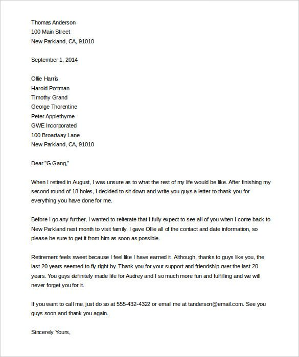 Elegant Retirement Letter Templates Free Sample Example Format Thank You Letters  Livecareer