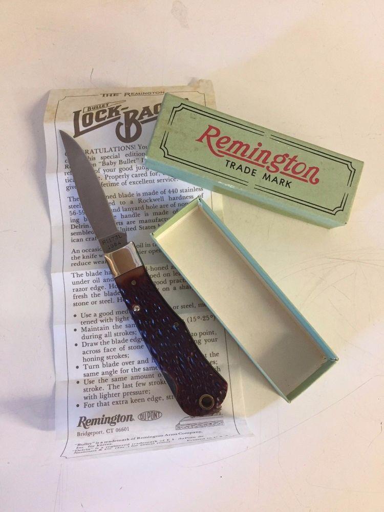 Vintage 1984 Remington Folding Pocket Knife Lock Backs