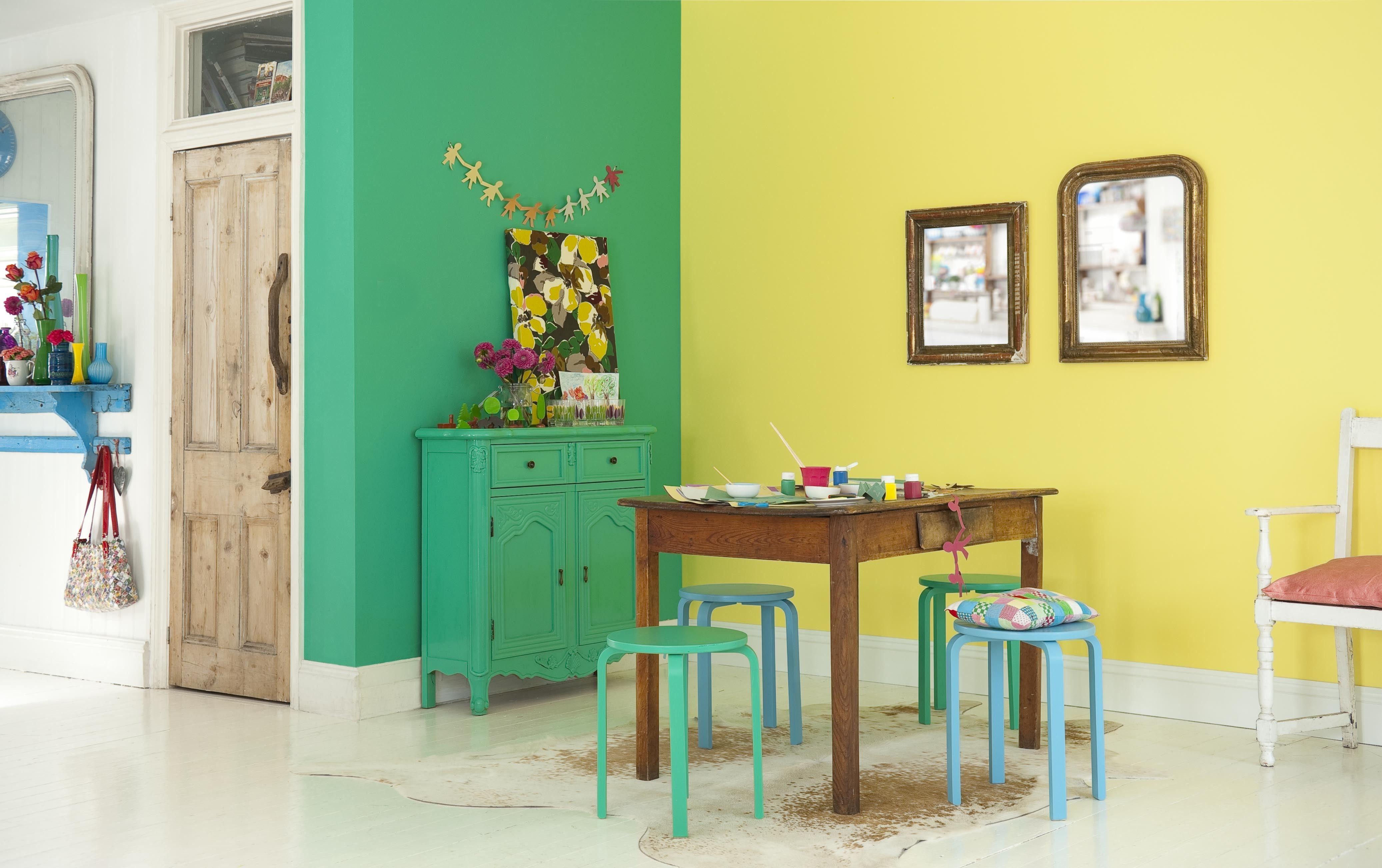 Combinacion Verde Y Amarillo Colores Para Ambiente Tropical Yellow Dining Room Living Room Color Room Colors