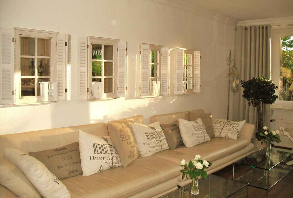 Wall Mirror White With Shutter Wooden Country House Shutters