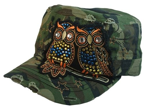 0fc4398eb Womans Baseball Cap 2 Owls with Rhinestones Distressed Style ...