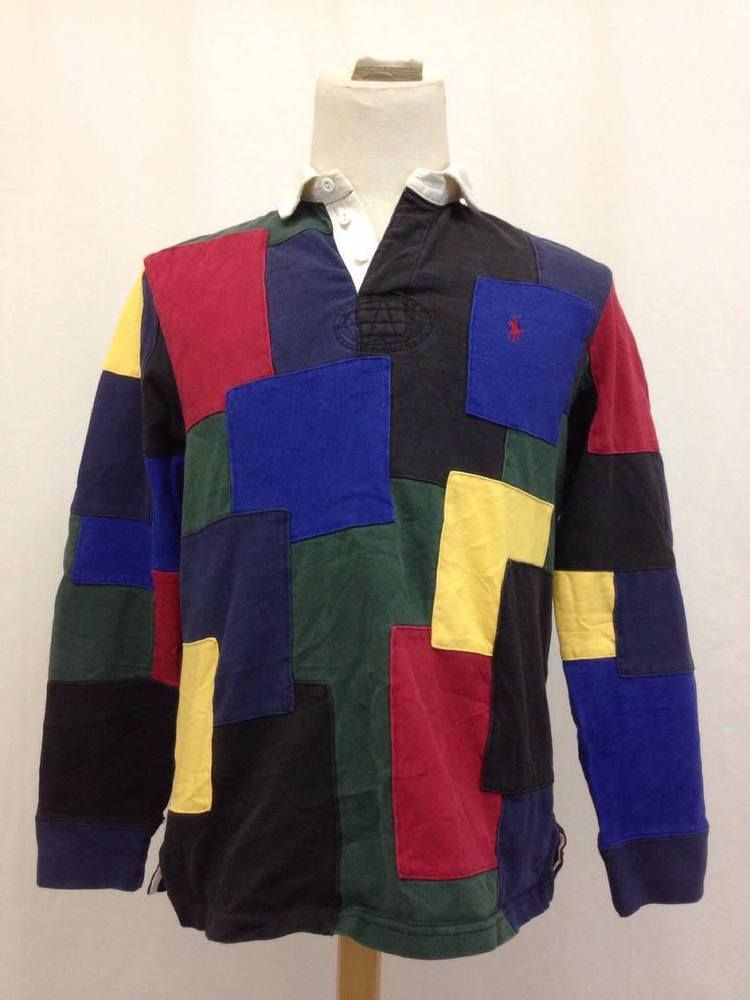 a15e2f17c Vintage Polo Ralph Lauren Patchwork Color Block Rugby Shirt Size Large