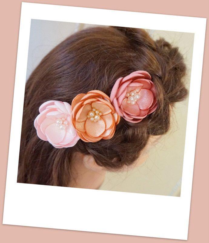 Bridal silk flowers peach blush pink handmade hair accessories bridal silk flowers peach blush pink handmade hair accessories dusky peach small hair clip mightylinksfo