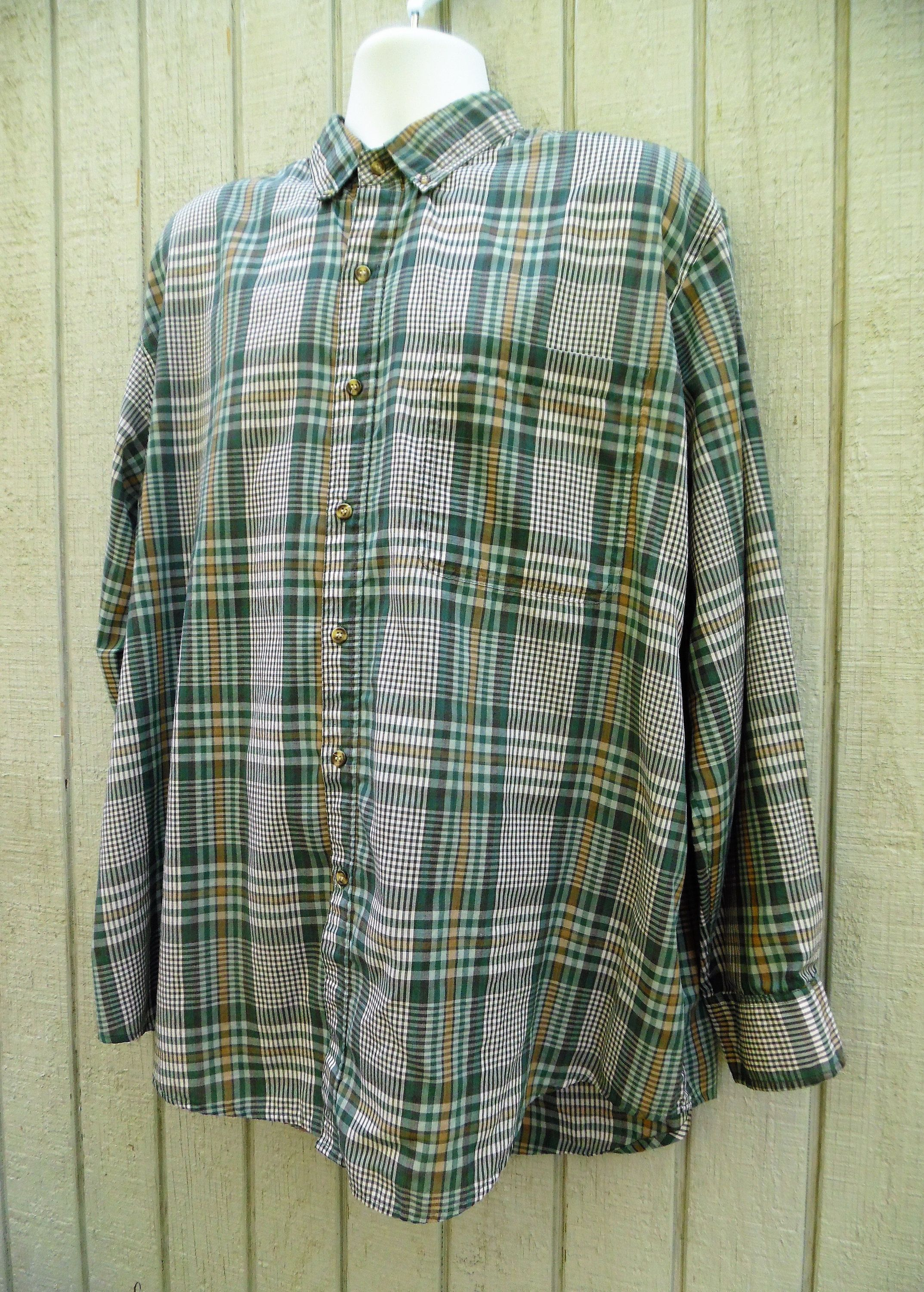 Button up flannel shirts  s Vintage Grunge Flannel Thin Oversized s Shirt by McGregor