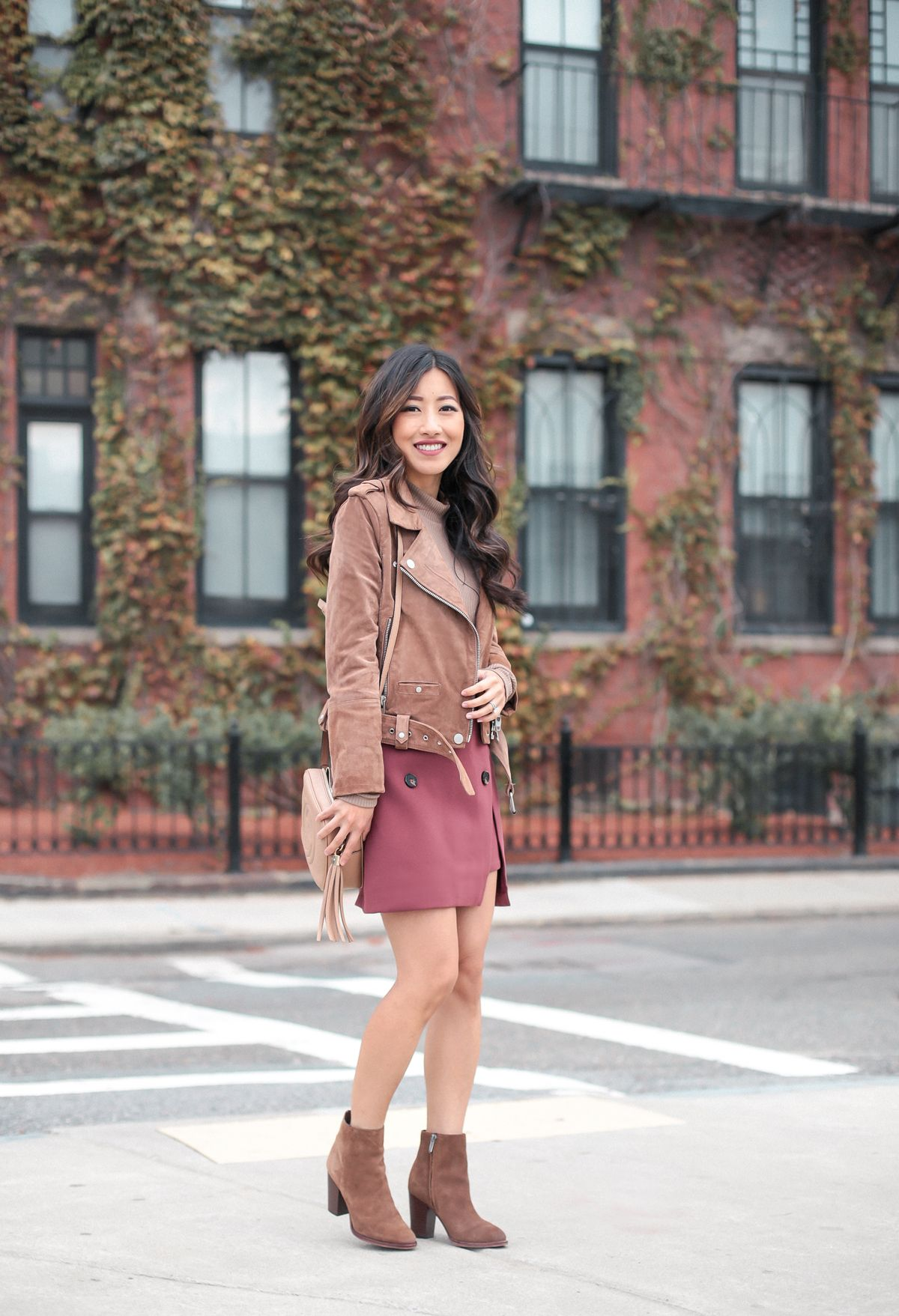 6825b57791e Cute Fall Skirt (under $50!) + Suede jacket | Extra Petite | Fall ...