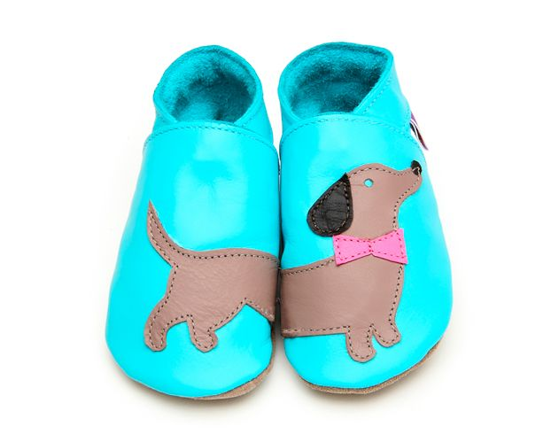 Turquoise dachshund leather shoes for baby, Starchild