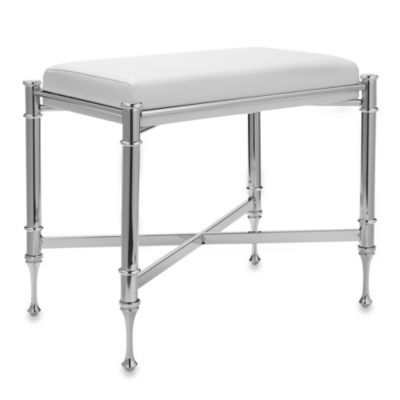 Super This Polished Chrome Plated Steel Taymor Chrome Vanity Bench Bralicious Painted Fabric Chair Ideas Braliciousco