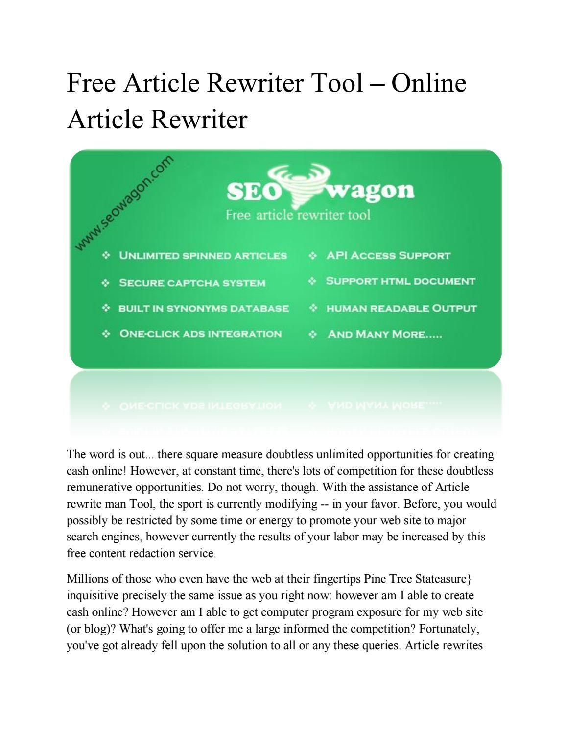 Free Article Rewriter Tool Online Article Rewriter Tool