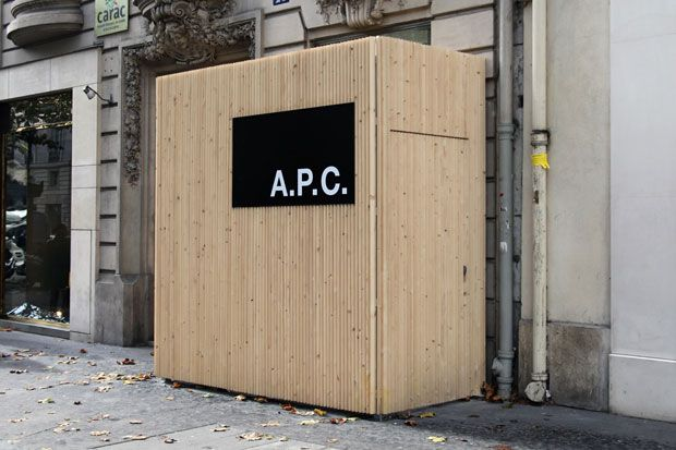 Earlier today A.P.C.'s Jean Touitou unveiled a preview into the brand's latest store in Paris. Shown here is a better shot of the store front, which is still under wraps but should soon be unveile...
