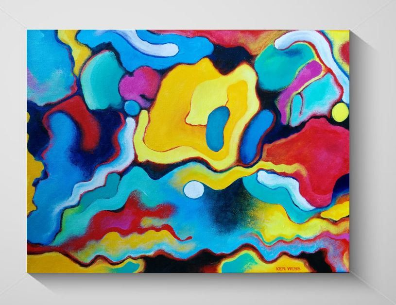 Painting Dynamic Bright Colors Acrylic Abstract Original Fine Art Kenwebbstudios Organic Symbiosis Abstrakt Maleri Malerier Abstrakt