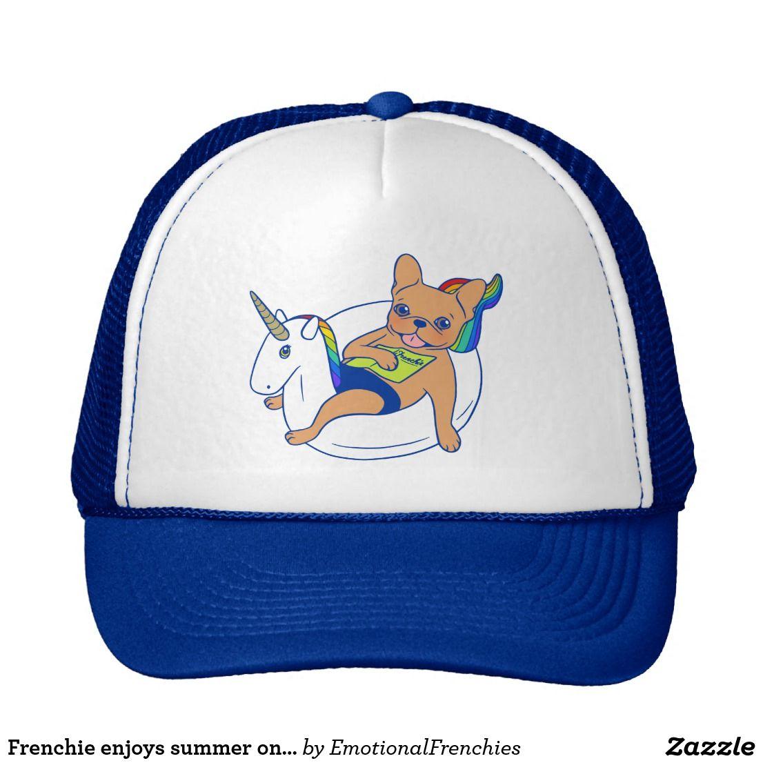 5185eb1a07b Frenchie enjoys summer on unicorn pool float trucker hat