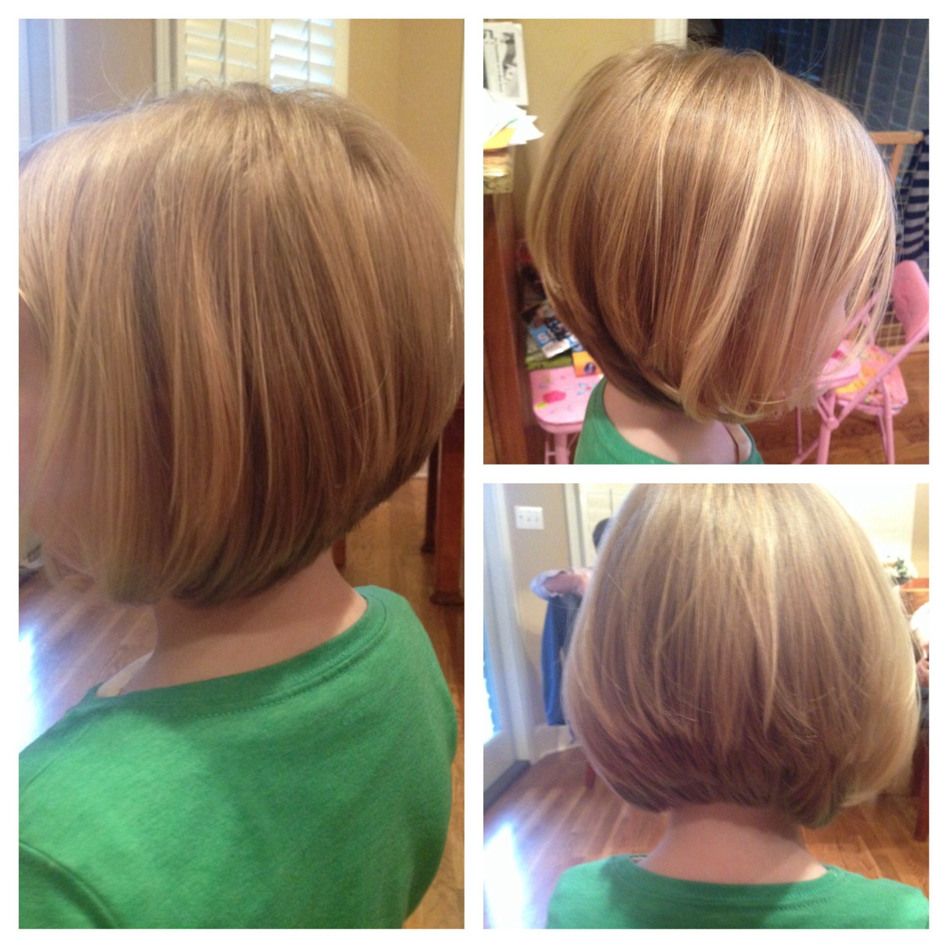 A fun graduation bob for finer hair great for little girls that