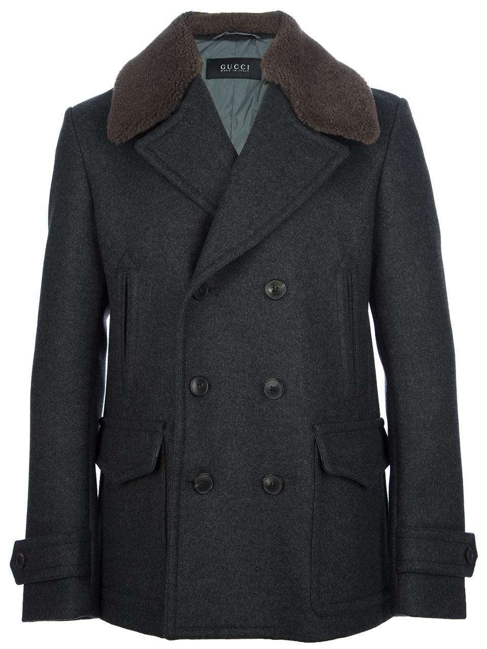 e328fb1f2 Love the Gucci shearling collar peacoat on Wantering | Winter Trends for Men  | Shearling