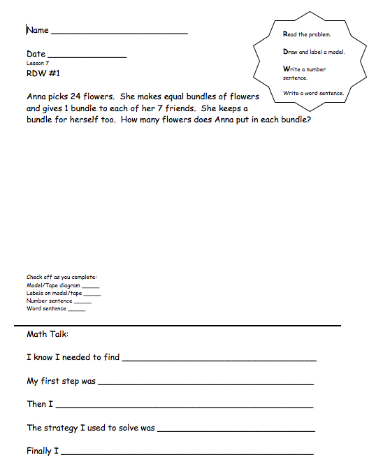 grade 3 module 1 lesson 7 rdw  word problem