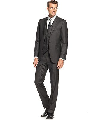 Kenneth Cole New York Mens Modern Fit 2 Button Side Vent Solid Suit