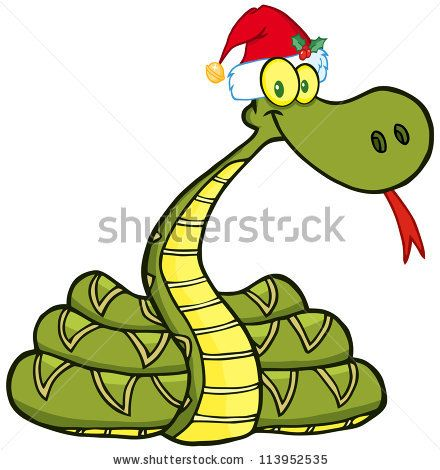 Snake Cartoon Character With Santa Hat  Raster Illustration Vector