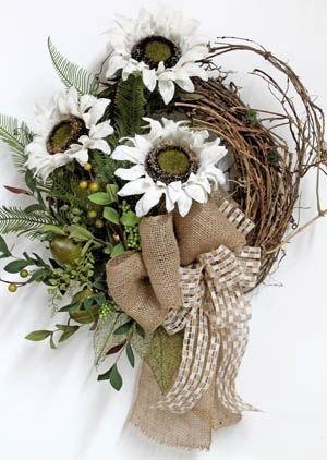 Burlap Sunflowers, Primitive Country Fall Wreath by mmonet