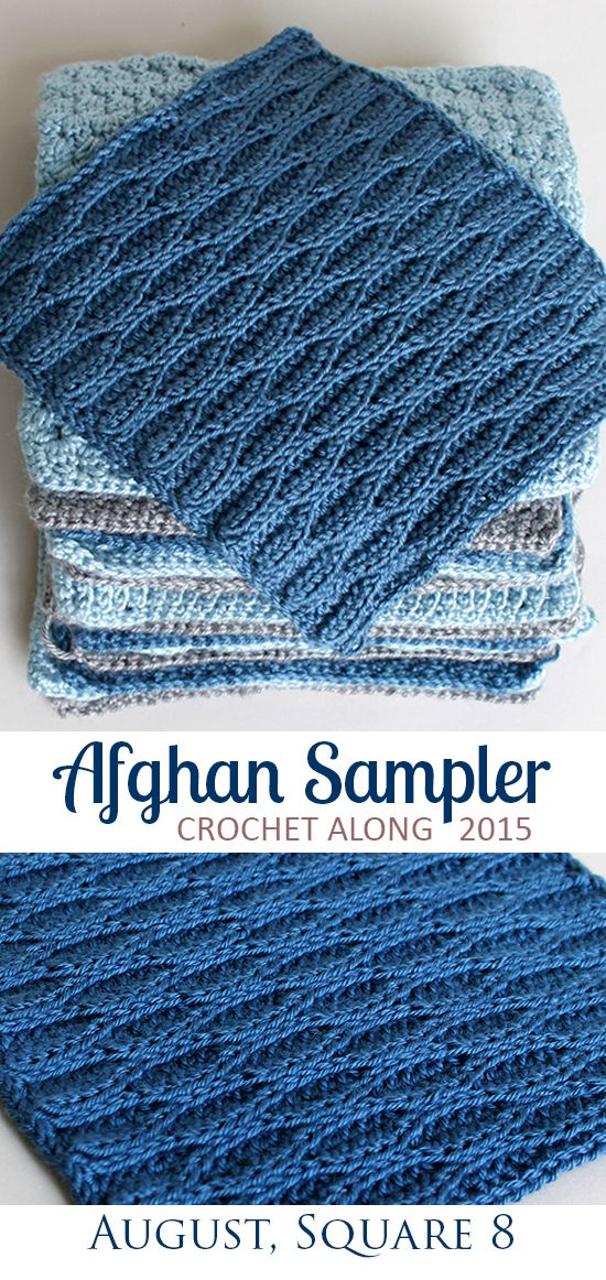 Wave Stitch, Square 8 of 10 for the Crochet Along Afghan Sampler on ...